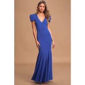 Lulus Royal Blue Puff Sleeve Trumpet Maxi Dress